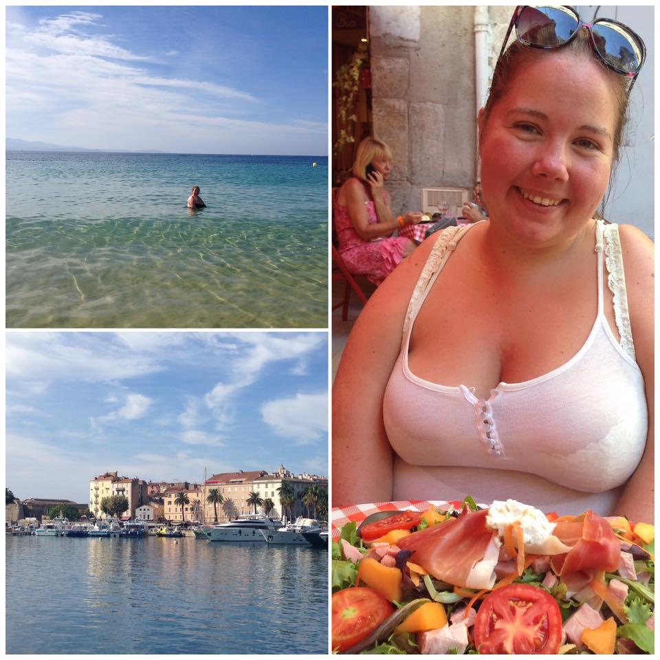 Bildecollage: svømmetur i middelhavet, havna i Korsika og salatlunsj i Toulon