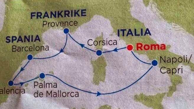 Reiserute Middelhavet
