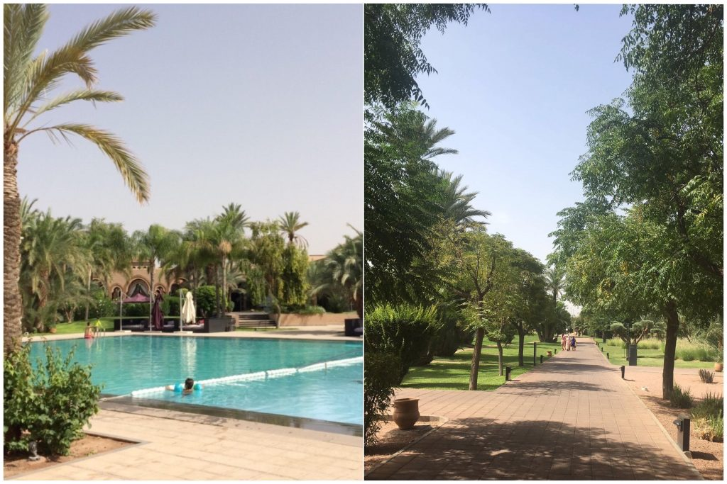 To sammensatte bilder: Bassengområdet og den noe lange strekka fra hotellrommet dog på veldig fine brosteiner :)