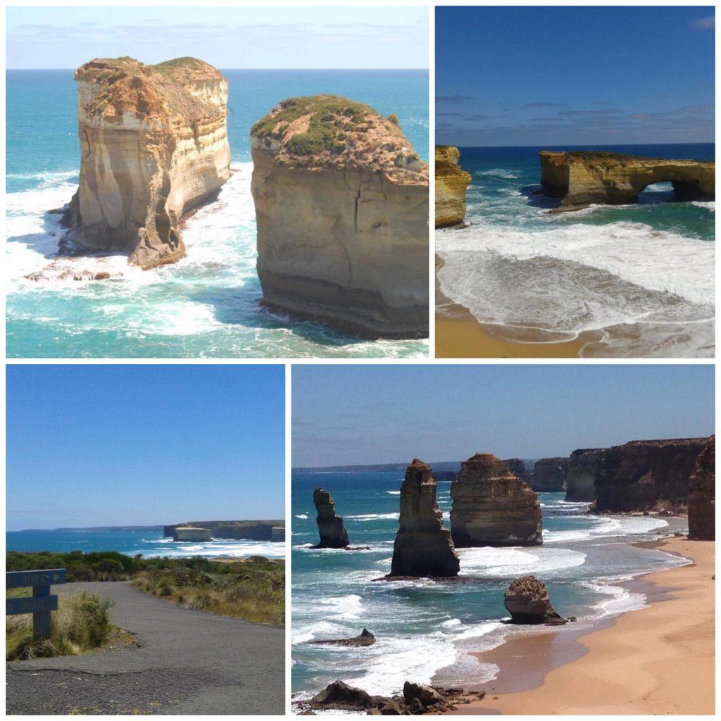 Firedelt bildecollage av kalkfjellformasjoner skytende opp fra havet ved kysten mellom Melbourne og Adelaide