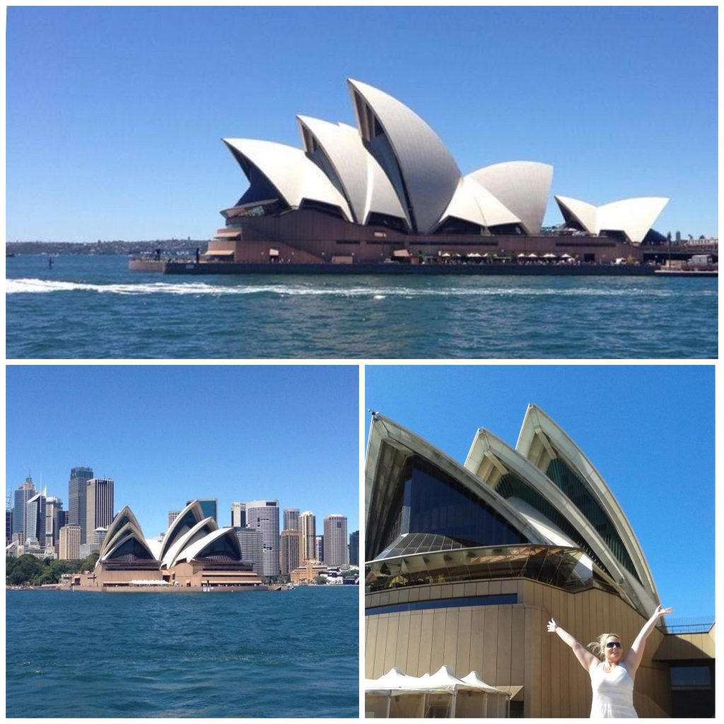 Bildecollage av Operahuset fra ulike vinkler.