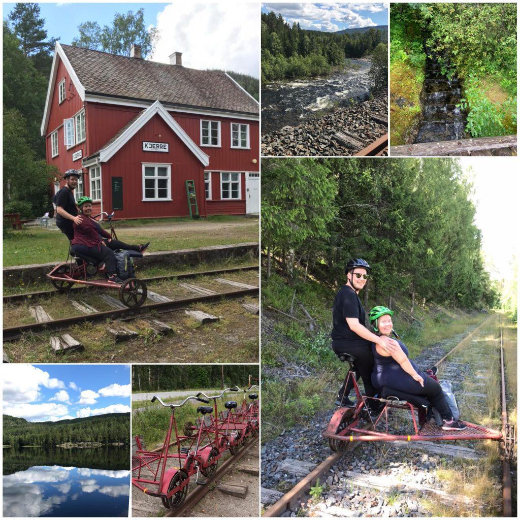 Seksdelt bildecollage: Lena og kjæresten poserer på dresinen, oppsatte dresiner på jernbaneskinna, samt naturbilder fra turen med blikkstille og rennende vann.