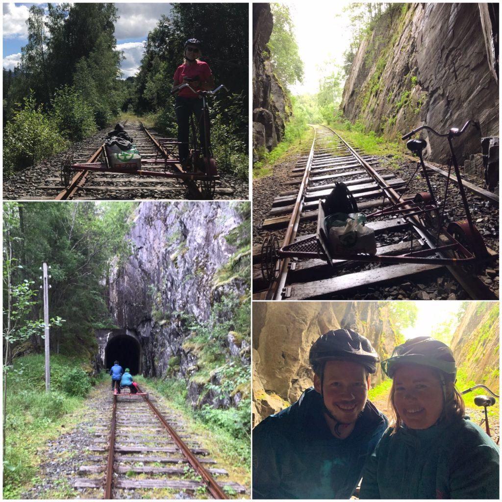 Firedelt bildecollage: Avstandsbilde bakfra av Lena og kjæresten på vei inn i en av tunnelene, selfie og bilde av tom dresin i tunnellåpningen, samt bilde av assistent Tone på dresinen sin.