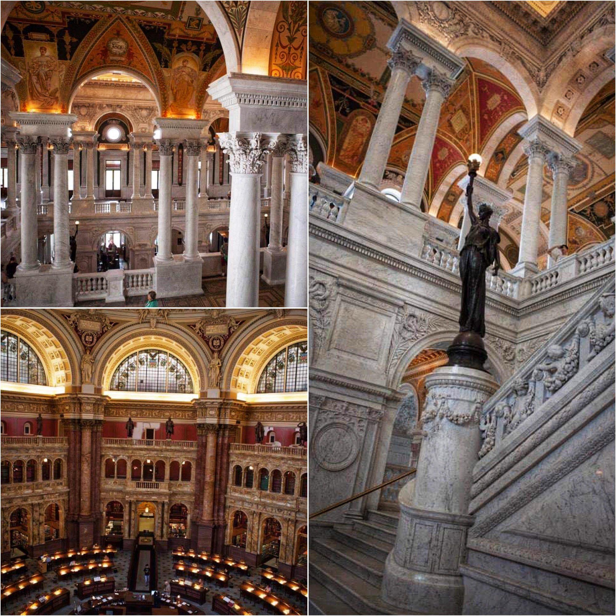 Bildecollage fra nasjonalbiblioteket. Store hvite marmor pilarer og røde/oransje malerier i taket.
