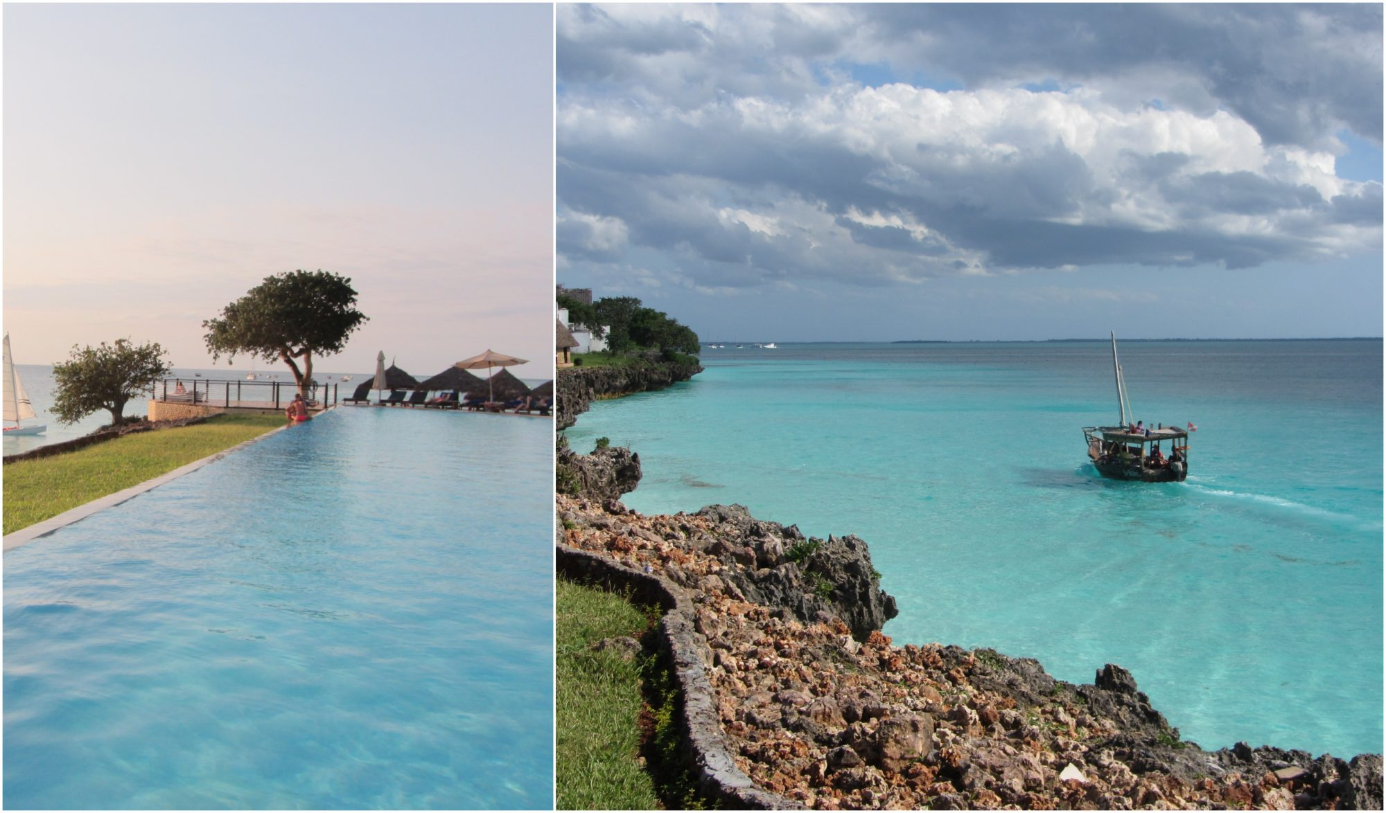 To bilder fra Zanzibar: bassengkanten og et bilde av krystallblått hav mot skyet himmel.