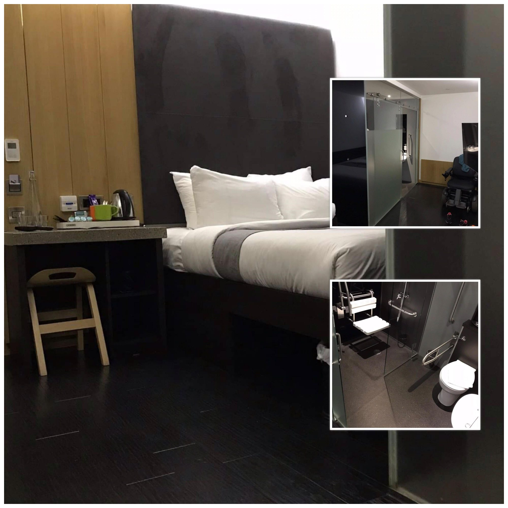 Tredelt bildecollage av hotellrom: dobbeltseng med god plass på siden og åpning under senga, innglassert bad med liten plass, dog smarte løsninger.