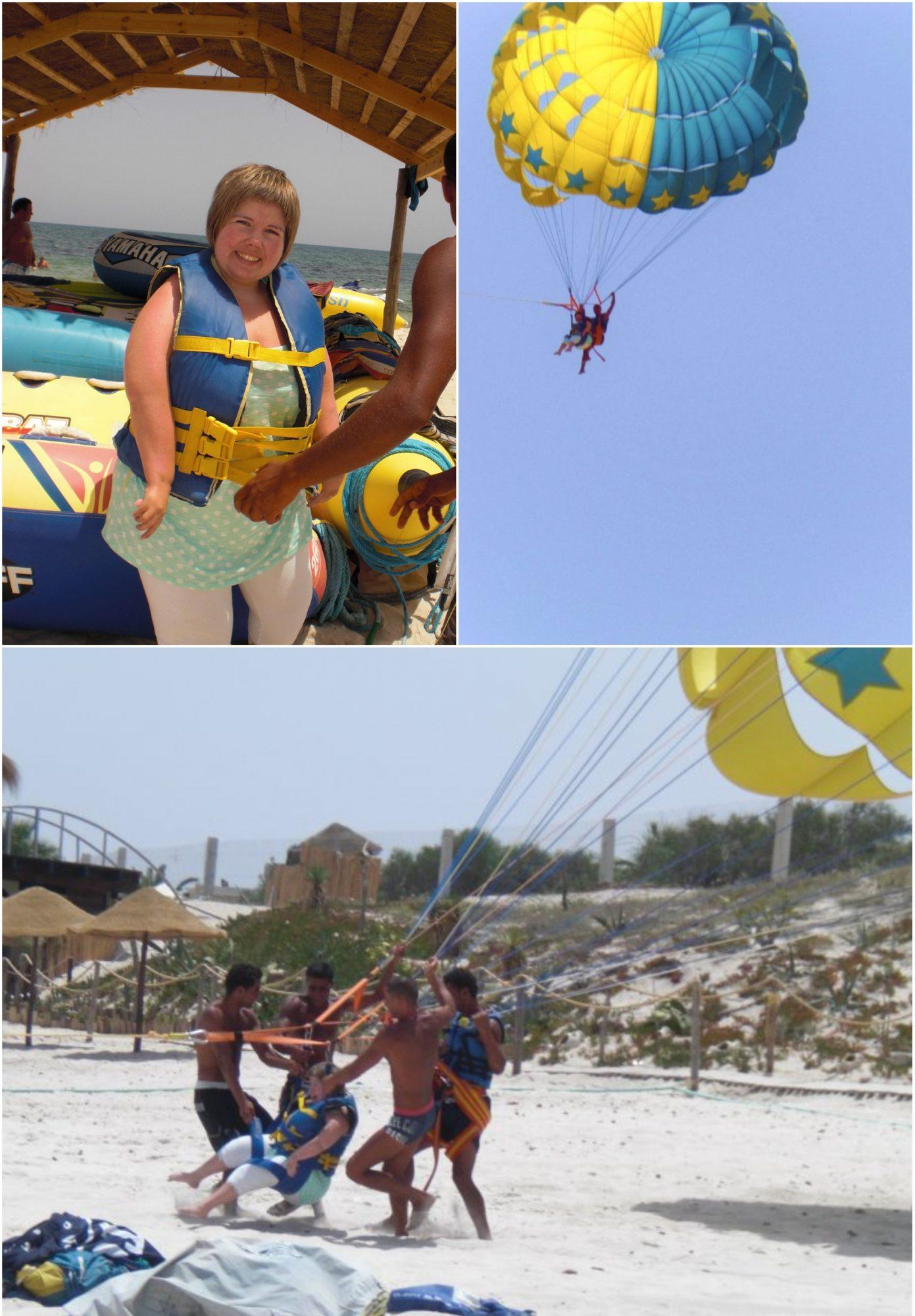 Tredelt bildecollage: 1. meg på stranda med redningsvest på. 2. Avstandsbilde av at jeg paraseiler med ledsager i blå himmel. 3. Take-off bilde fra stranda hvor tre solbrune gutter holder meg oppe i sela.
